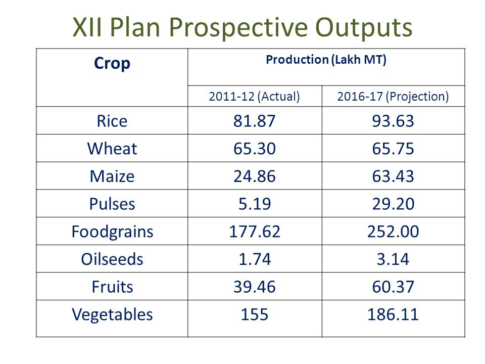 XII Plan Prospective Outputs Crop Production (Lakh MT) 2011-12 (Actual)2016-17 (Projection) Rice81.8793.63 Wheat65.3065.75 Maize24.8663.43 Pulses5.1929.20 Foodgrains177.62252.00 Oilseeds1.743.14 Fruits39.4660.37 Vegetables155186.11