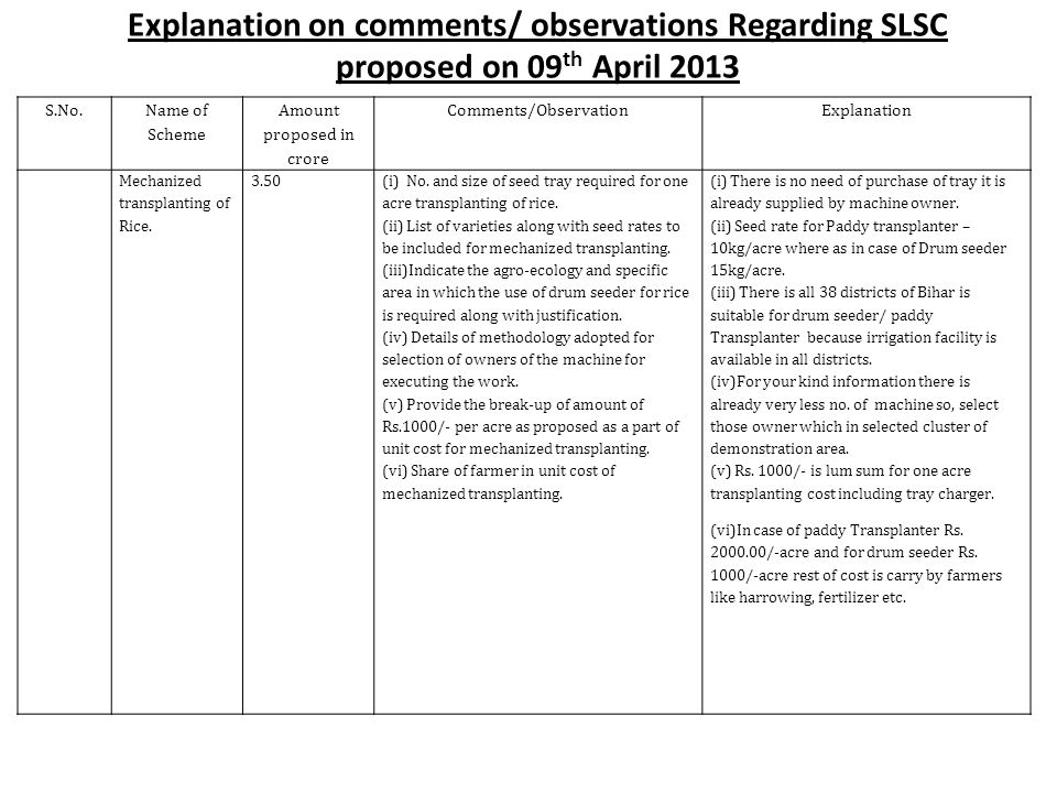 Explanation on comments/ observations Regarding SLSC proposed on 09 th April 2013 S.No.