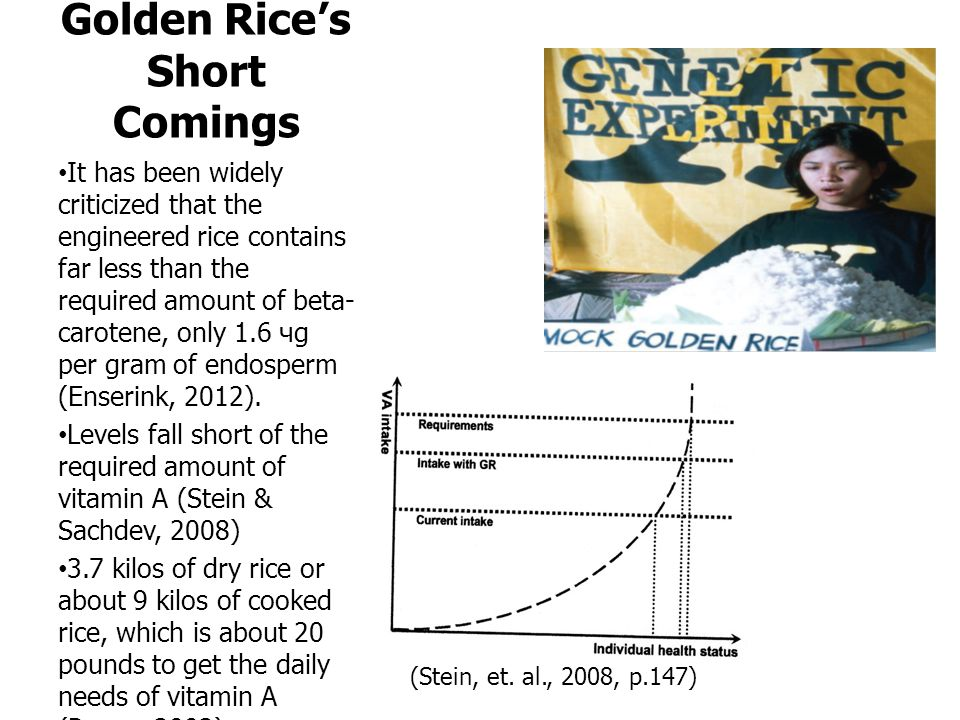 Golden Rice's Short Comings It has been widely criticized that the engineered rice contains far less than the required amount of beta- carotene, only 1.6 чg per gram of endosperm (Enserink, 2012).