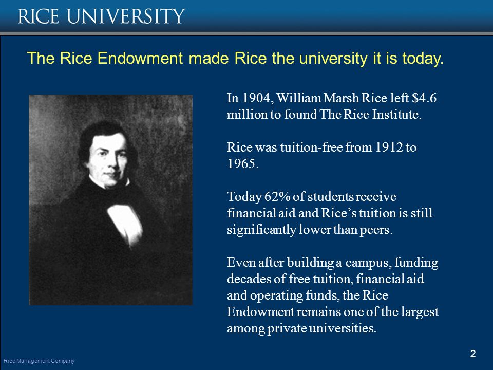 The Rice Endowment made Rice the university it is today.
