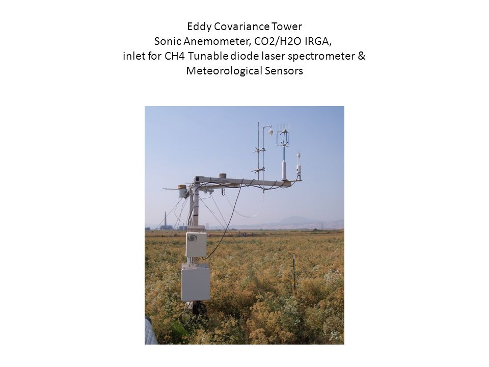 Eddy Covariance Tower Sonic Anemometer, CO2/H2O IRGA, inlet for CH4 Tunable diode laser spectrometer & Meteorological Sensors