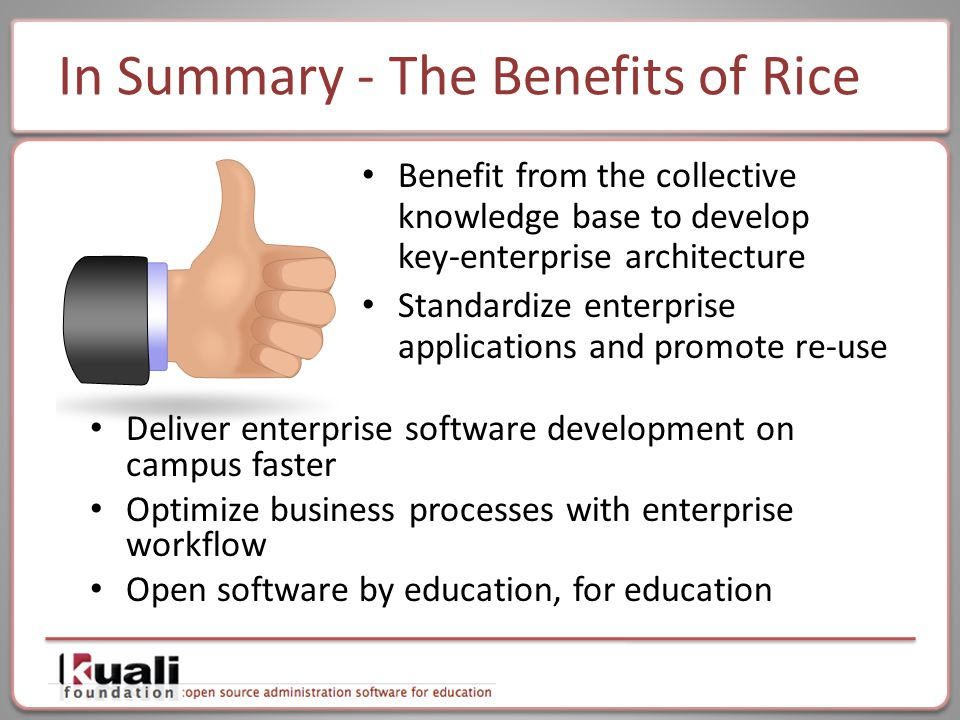 In Summary - The Benefits of Rice Benefit from the collective knowledge base to develop key-enterprise architecture Standardize enterprise applications and promote re-use Deliver enterprise software development on campus faster Optimize business processes with enterprise workflow Open software by education, for education
