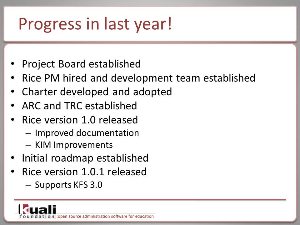 Progress in last year! Project Board established Rice PM hired and development team established Charter developed and adopted ARC and TRC established