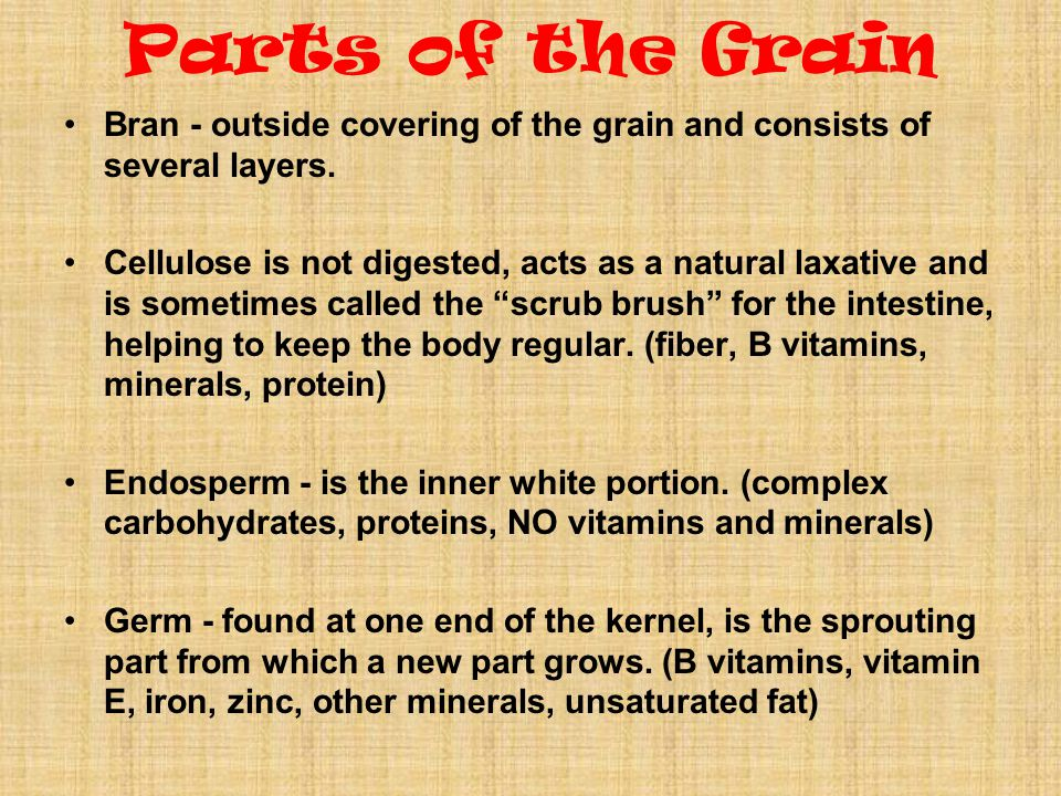 Parts of the Grain Bran - outside covering of the grain and consists of several layers.