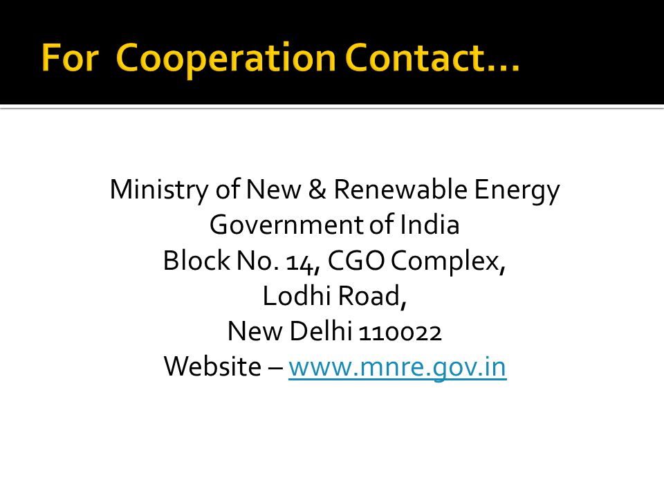 Ministry of New & Renewable Energy Government of India Block No.