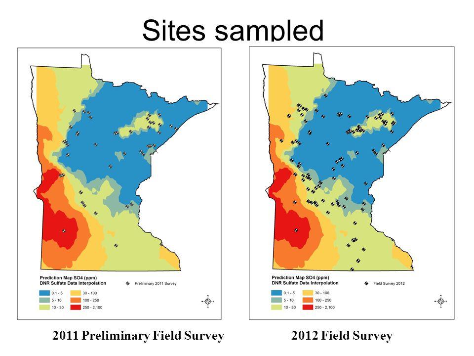 Sites sampled 2011 Preliminary Field Survey 2012 Field Survey
