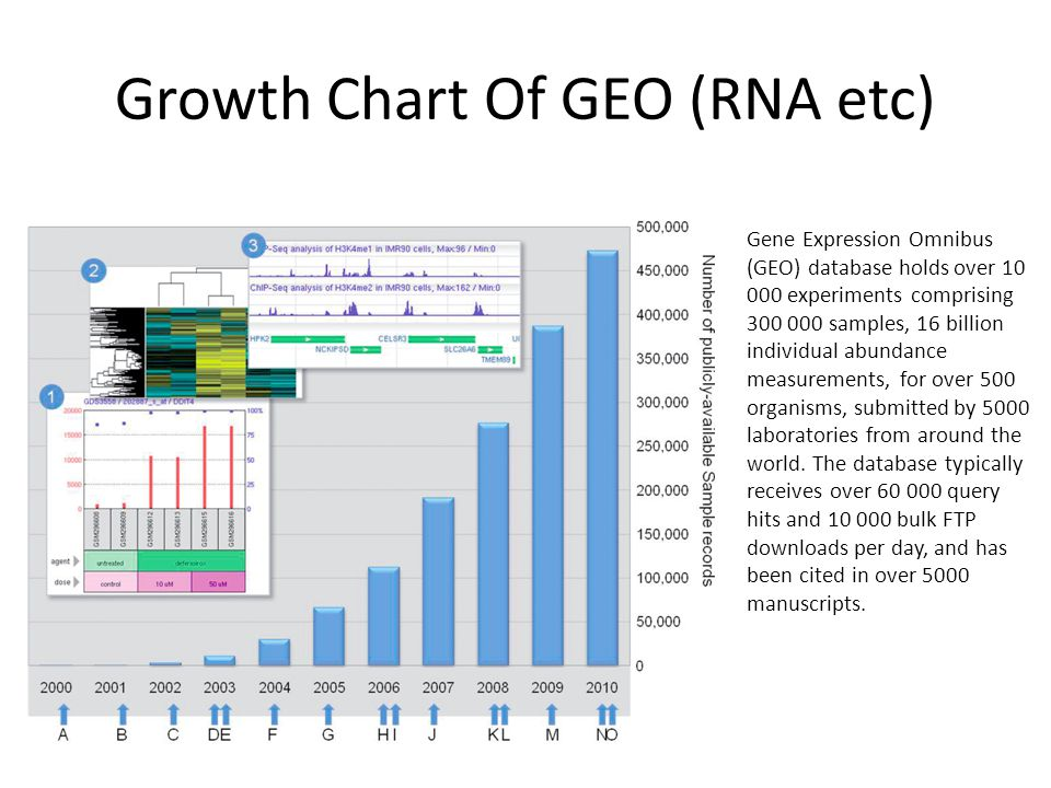 Growth Chart Of GEO (RNA etc) Gene Expression Omnibus (GEO) database holds over 10 000 experiments comprising 300 000 samples, 16 billion individual abundance measurements, for over 500 organisms, submitted by 5000 laboratories from around the world.