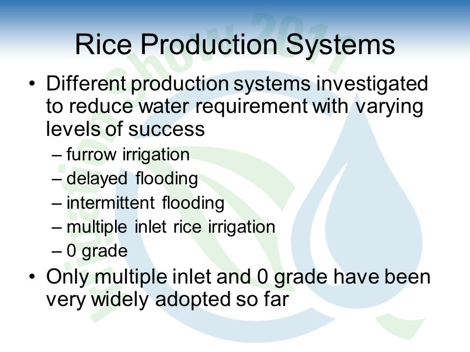 Rice Production Systems Different production systems investigated to reduce water requirement with varying levels of success –furrow irrigation –delayed flooding –intermittent flooding –multiple inlet rice irrigation –0 grade Only multiple inlet and 0 grade have been very widely adopted so far
