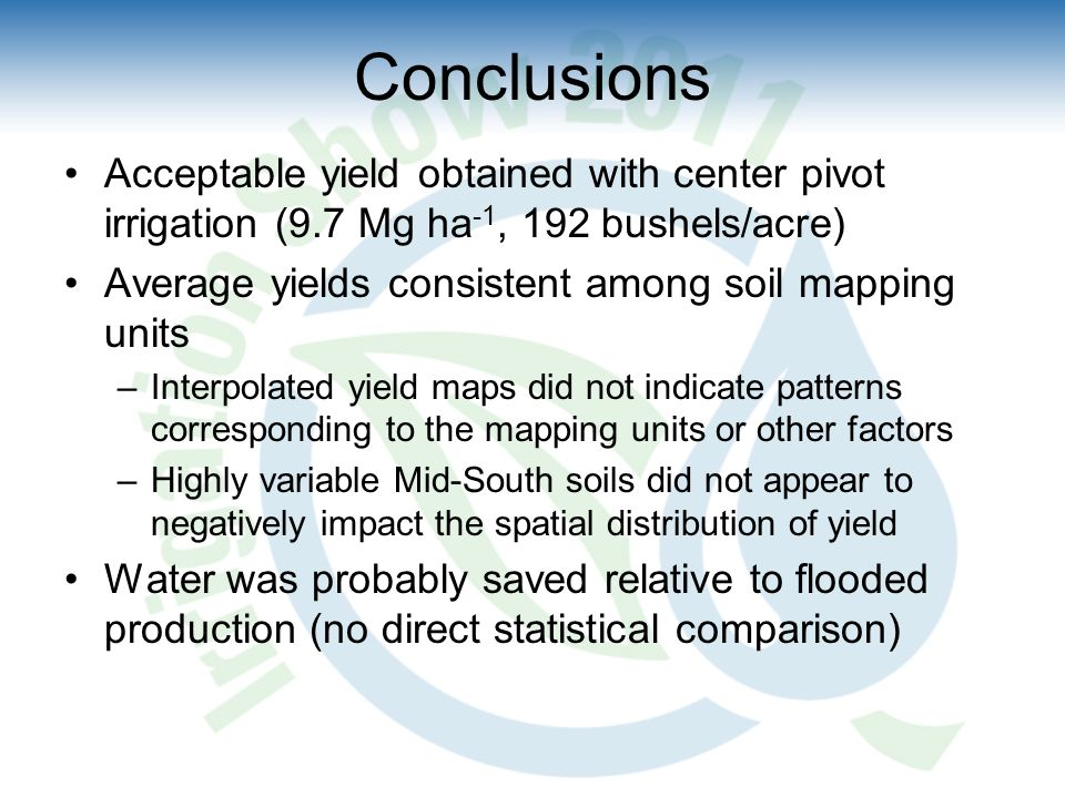 Conclusions Acceptable yield obtained with center pivot irrigation (9.7 Mg ha -1, 192 bushels/acre) Average yields consistent among soil mapping units –Interpolated yield maps did not indicate patterns corresponding to the mapping units or other factors –Highly variable Mid-South soils did not appear to negatively impact the spatial distribution of yield Water was probably saved relative to flooded production (no direct statistical comparison)