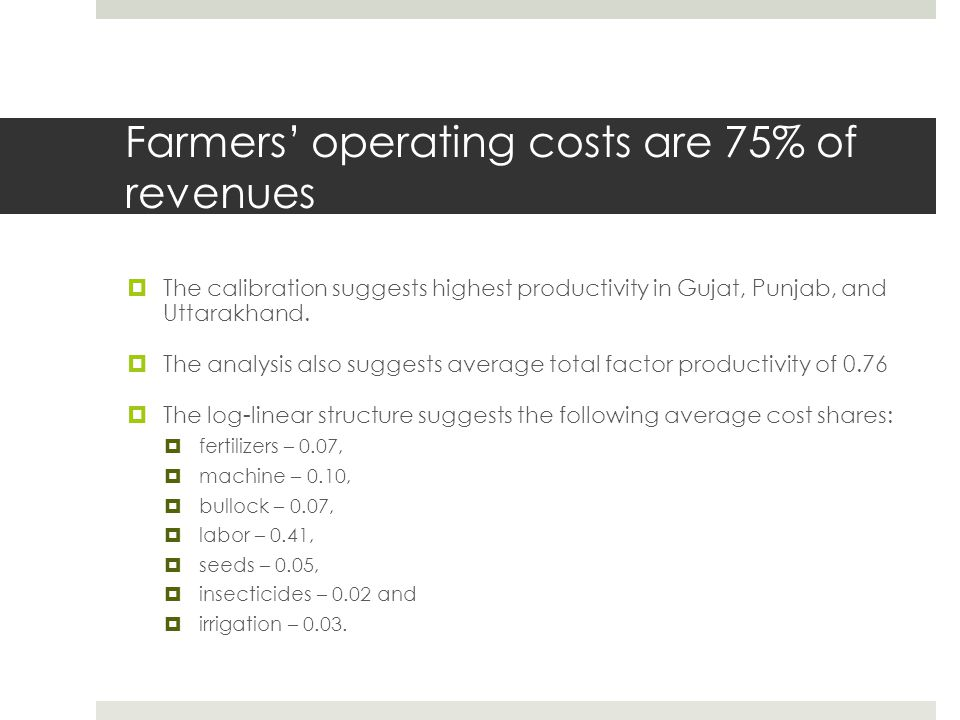 Farmers' operating costs are 75% of revenues  The calibration suggests highest productivity in Gujat, Punjab, and Uttarakhand.  The analysis also su