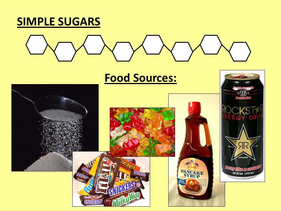 SIMPLE SUGARS Food Sources:
