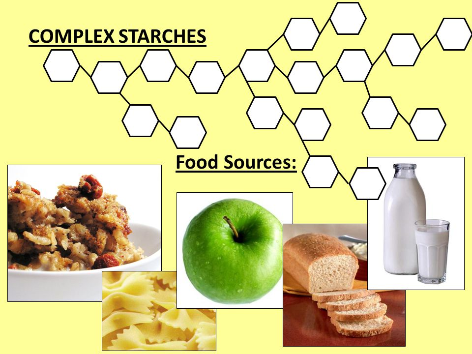COMPLEX STARCHES Food Sources: