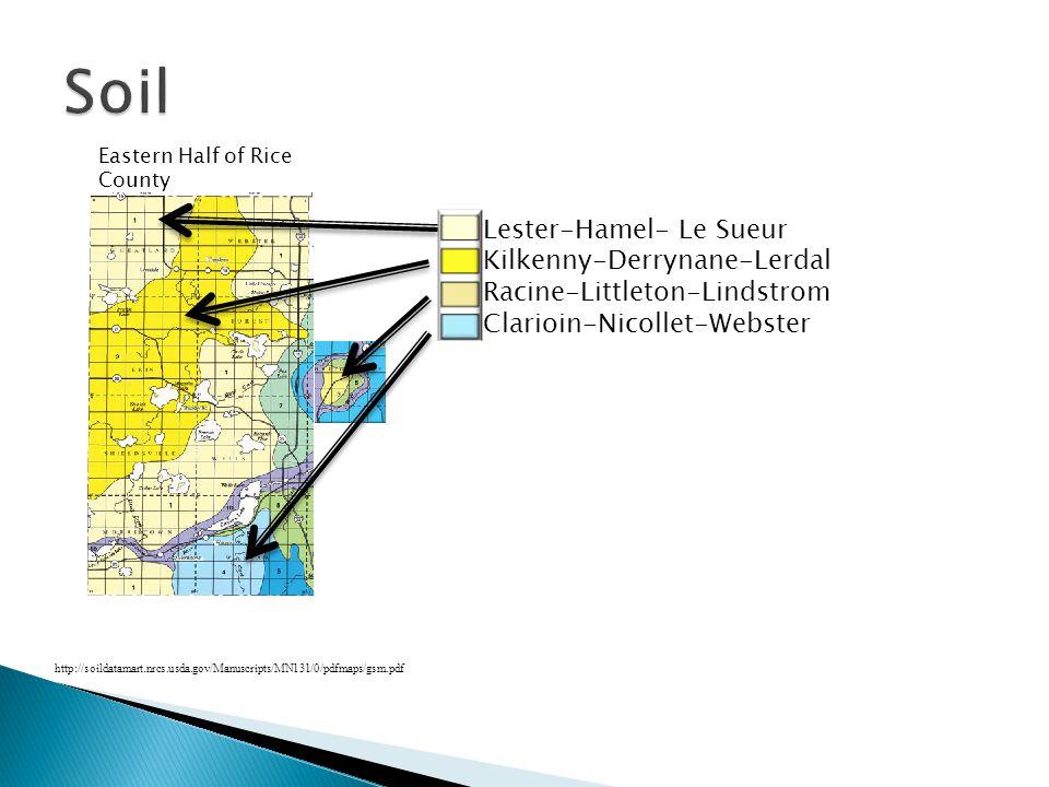 Lester-Hamel- Le Sueur Kilkenny-Derrynane-Lerdal Racine-Littleton-Lindstrom Clarioin-Nicollet-Webster http://soildatamart.nrcs.usda.gov/Manuscripts/MN131/0/pdfmaps/gsm.pdf Eastern Half of Rice County