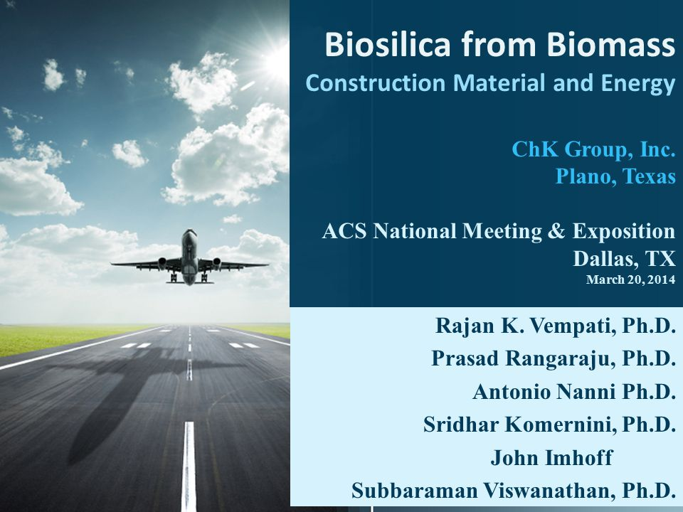 Project Goals  Manufacture Amorphous silica from biomass (Biosilica) with multiple uses  Construction material in High Strength Concrete  Additive in paints, plastics & tires  Zeolite manufacture  Sustainable Product  Unlike Other Food Products used in Bio-Fuels.