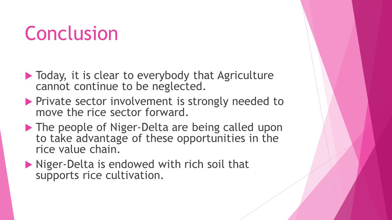 Conclusion  Today, it is clear to everybody that Agriculture cannot continue to be neglected.