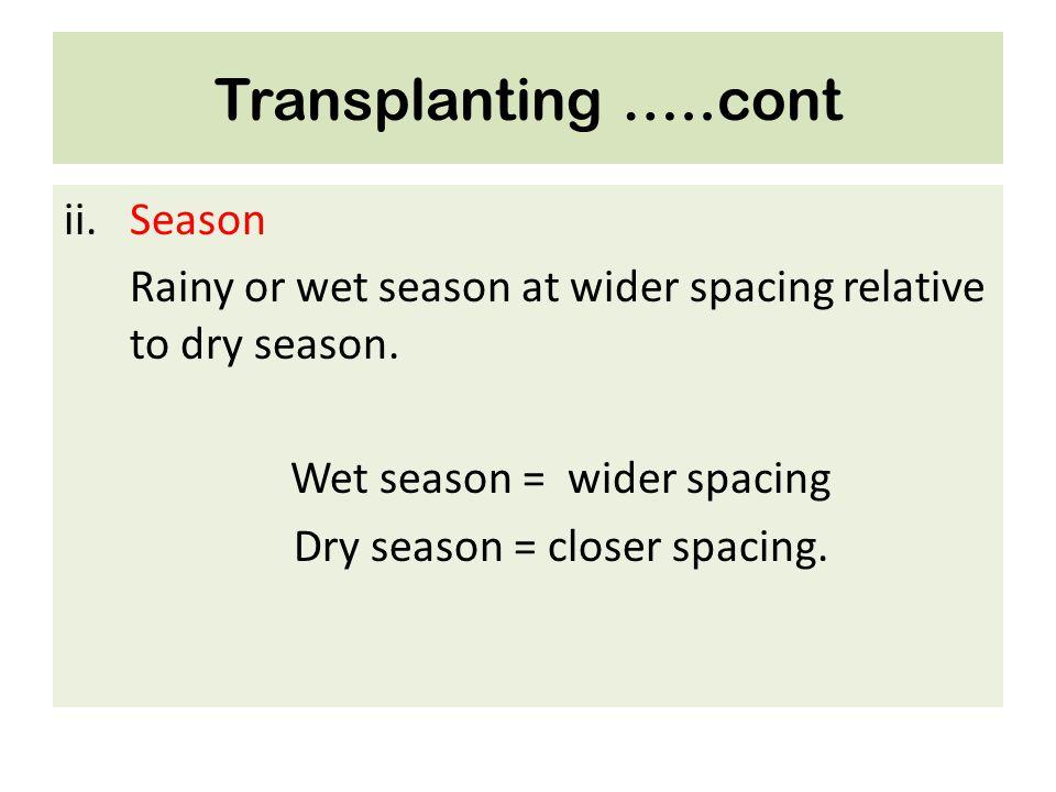 Transplanting …..cont ii.Season Rainy or wet season at wider spacing relative to dry season. Wet season = wider spacing Dry season = closer spacing.
