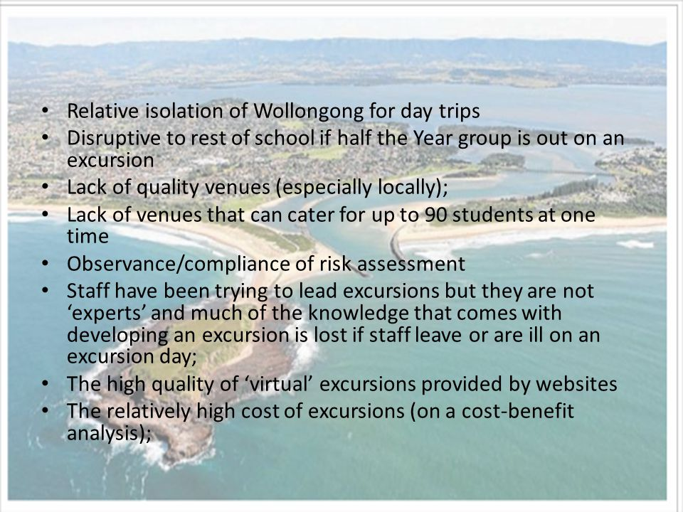 Relative isolation of Wollongong for day trips Disruptive to rest of school if half the Year group is out on an excursion Lack of quality venues (especially locally); Lack of venues that can cater for up to 90 students at one time Observance/compliance of risk assessment Staff have been trying to lead excursions but they are not 'experts' and much of the knowledge that comes with developing an excursion is lost if staff leave or are ill on an excursion day; The high quality of 'virtual' excursions provided by websites The relatively high cost of excursions (on a cost-benefit analysis);