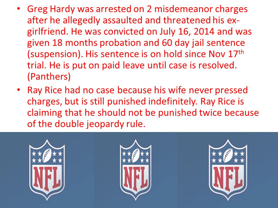 Greg Hardy was arrested on 2 misdemeanor charges after he allegedly assaulted and threatened his ex- girlfriend. He was convicted on July 16, 2014 and