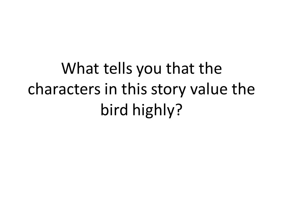 What tells you that the characters in this story value the bird highly?