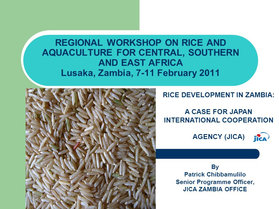 Presentation Outline 1.The Significance of Rice in Zambia 2.