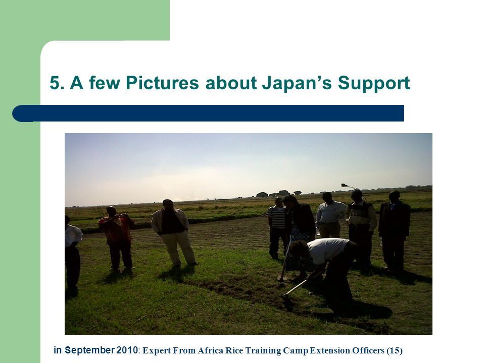 5. A few Pictures about Japan's Support in September 2010: Expert From Africa Rice Training Camp Extension Officers (15)