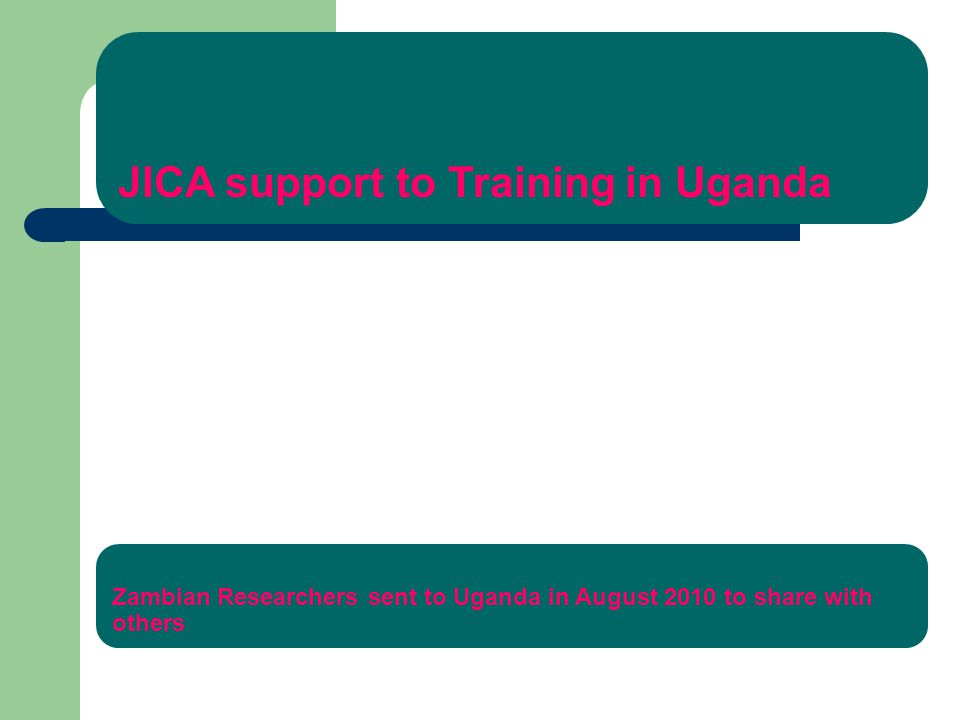 JICA support to Training in Uganda Zambian Researchers sent to Uganda in August 2010 to share with others
