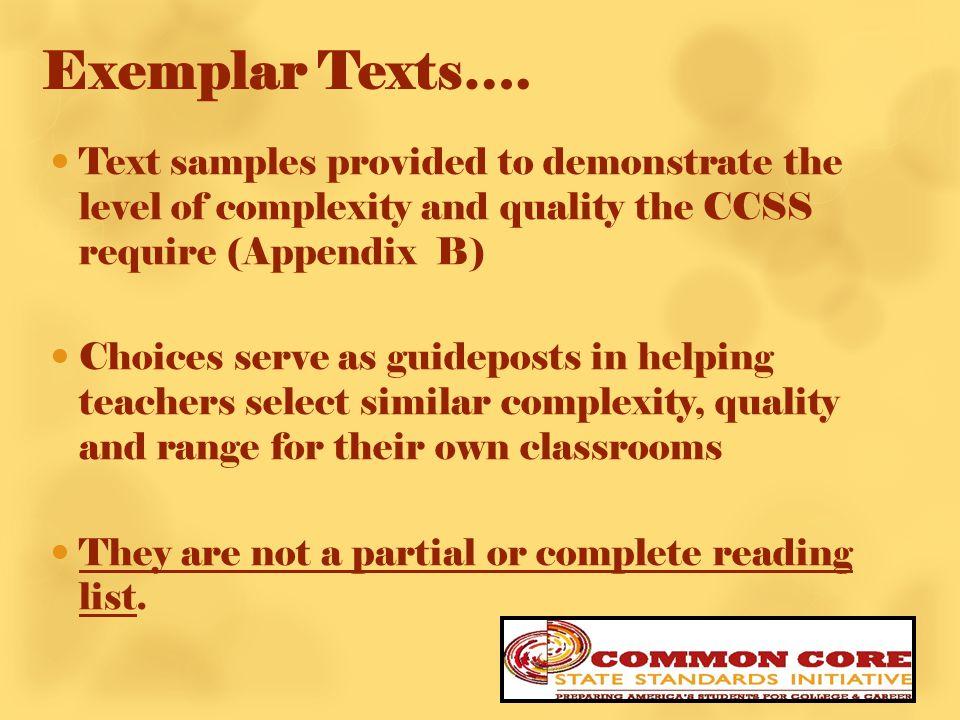 Exemplar Texts….