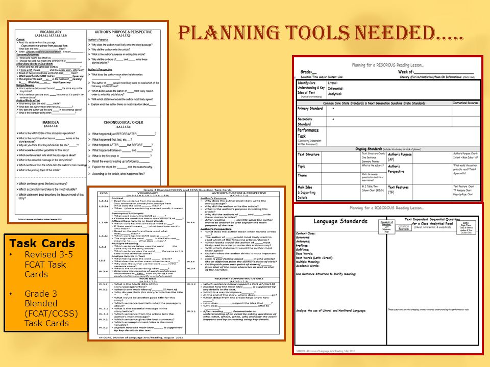 PLANNING TOOLS NEEDED…..