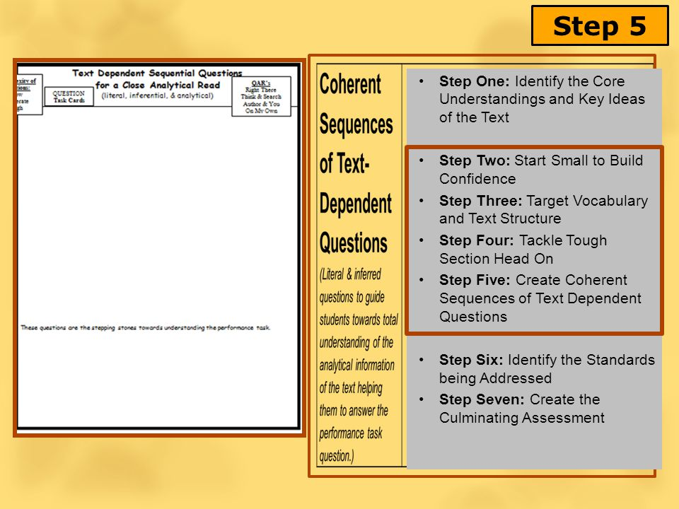 Step 5 Step One: Identify the Core Understandings and Key Ideas of the Text Step Two: Start Small to Build Confidence Step Three: Target Vocabulary and Text Structure Step Four: Tackle Tough Section Head On Step Five: Create Coherent Sequences of Text Dependent Questions Step Six: Identify the Standards being Addressed Step Seven: Create the Culminating Assessment