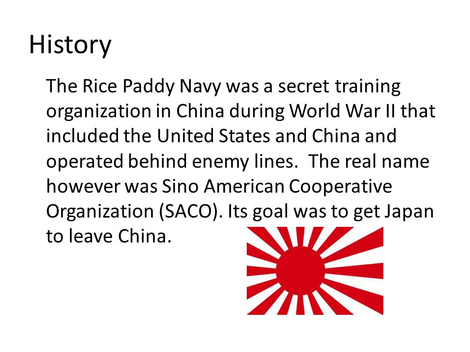 History The Rice Paddy Navy was a secret training organization in China during World War II that included the United States and China and operated behind enemy lines.