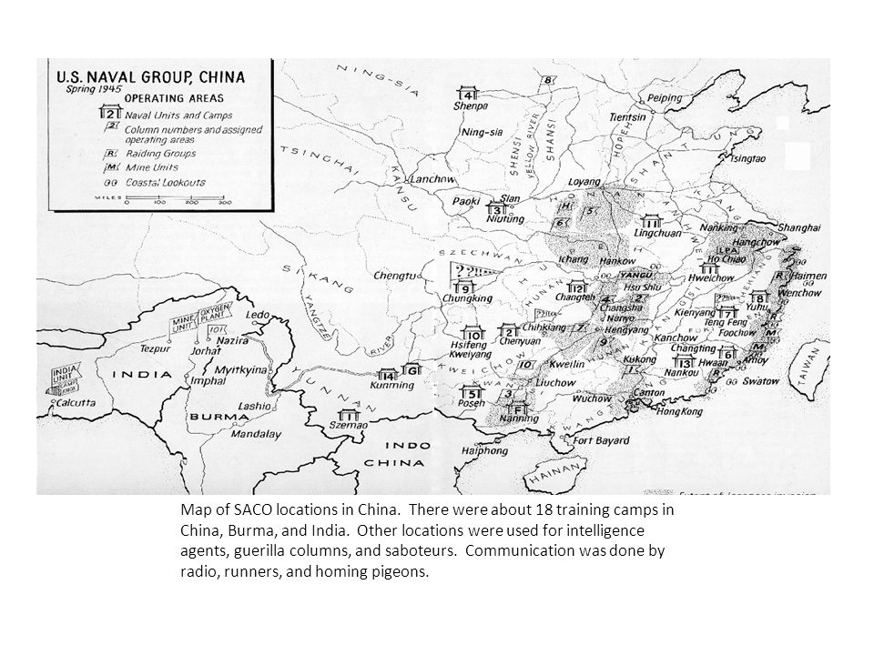 Map of SACO locations in China. There were about 18 training camps in China, Burma, and India.