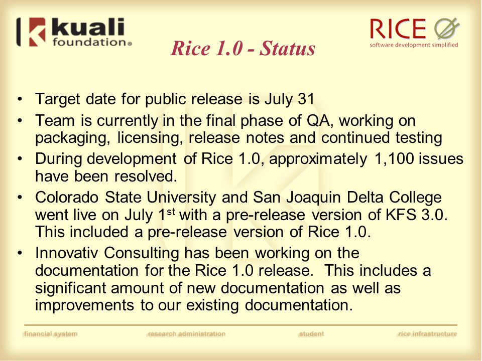 Rice 1.0 – Major Changes Major refactoring of package structures to conform with project standards Refactoring of all database identifiers (table names, column names, etc.) to conform with project standards Reorganization of Rice modules including explicit separation of API and Implementation classes.