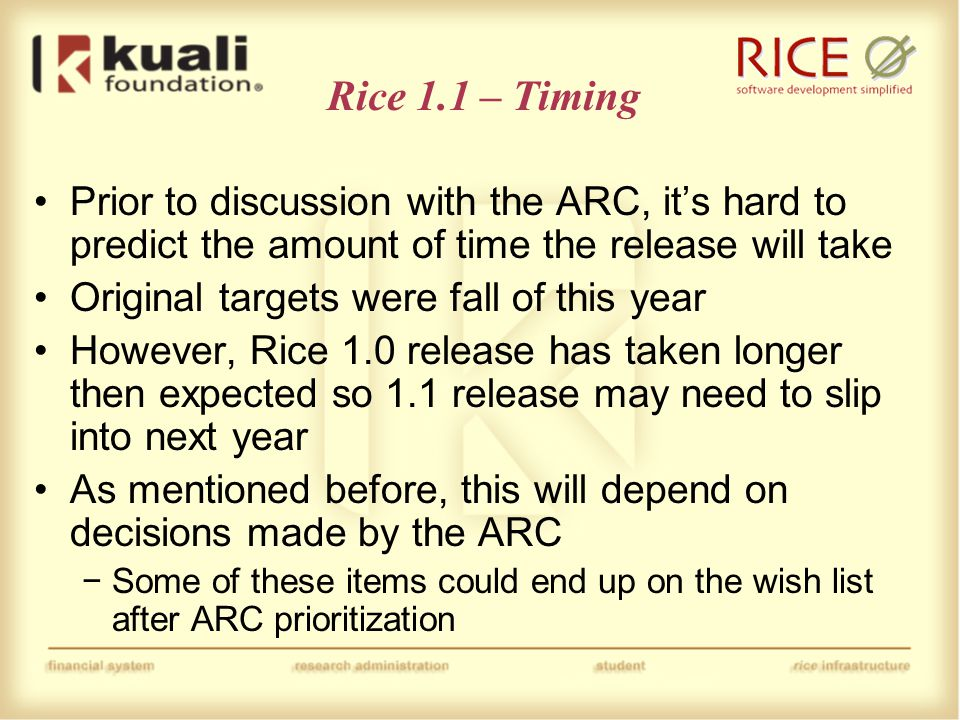 Rice Roadmap – Future Directions University of California July 20, 2009 Bill Yock