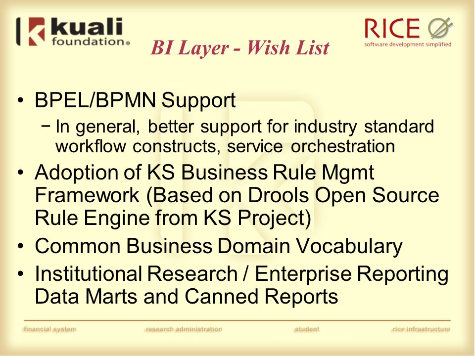 ESB Layer – Wish List Continue to evolve KSB toward more industry standards −At the extreme case, this might result in replacement of the KSB −At a minimum, improve utilization of other open source products within KSB (such as Active MQ) RSS Support − primarily in the context of the notification module