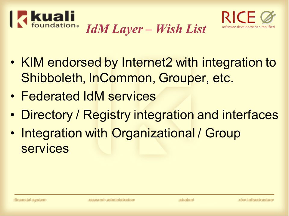 Data Mgmt Layer – Wish List Master Data Mgmt Services (organization, budgets, space, calendars, etc.) Metadata Management Services (data dictionary, data governance, data lineage, data quality, etc.) Data Warehouse Services (rule driven ETL, common data structures, etc.) Document Management Services (Document storage, search, retention, etc.)