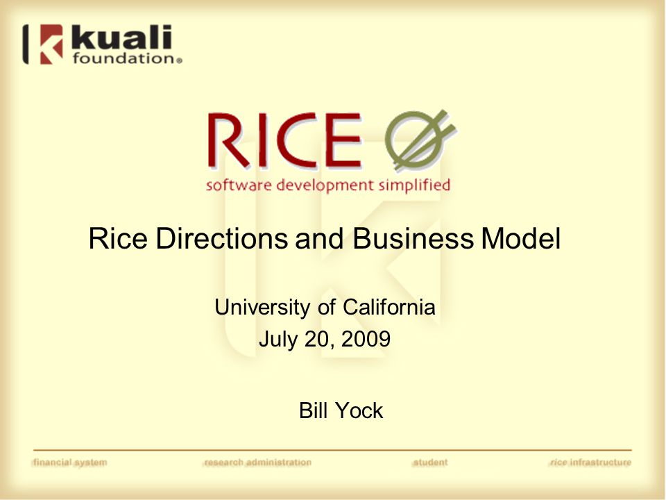 Rice Positioning and Business Model Major Themes (To be discussed in this session) −Positioning of Rice in regards to other similar open source software −Business Model and Sustainability (To be discussed in afternoon Rice roadmap session) −Interoperability and Coexistence −Federation and Reuse UC ITAG Evaluation helpful in preparing a FAQ for other institutions preparing to do an evaluation