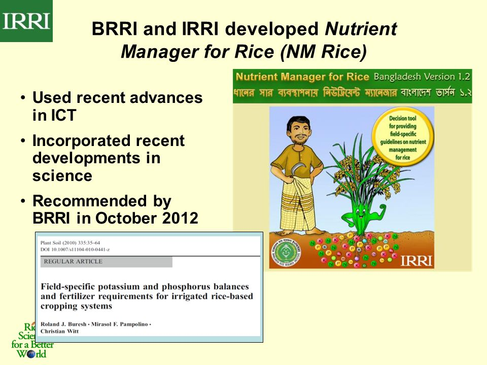 Used recent advances in ICT Incorporated recent developments in science Recommended by BRRI in October 2012 BRRI and IRRI developed Nutrient Manager for Rice (NM Rice)