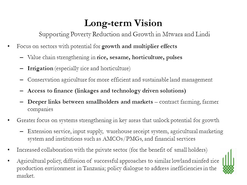 Long-term Vision Focus on sectors with potential for growth and multiplier effects – Value chain strengthening in rice, sesame, horticulture, pulses –