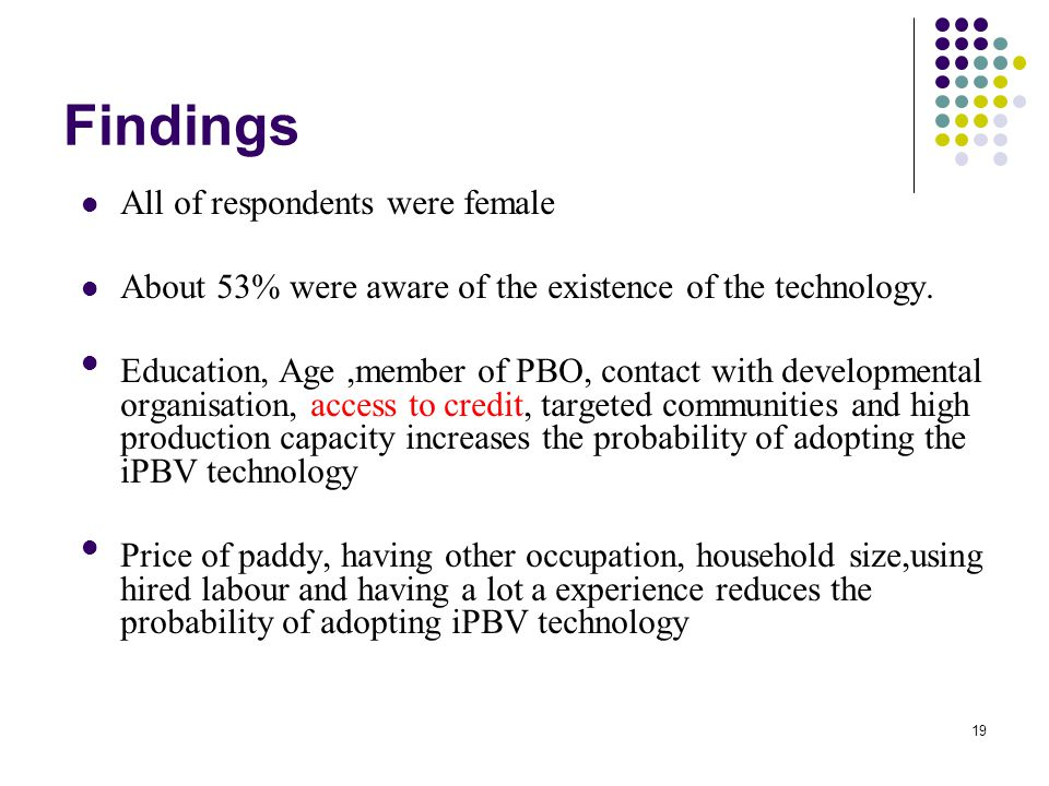 Findings All of respondents were female About 53% were aware of the existence of the technology.
