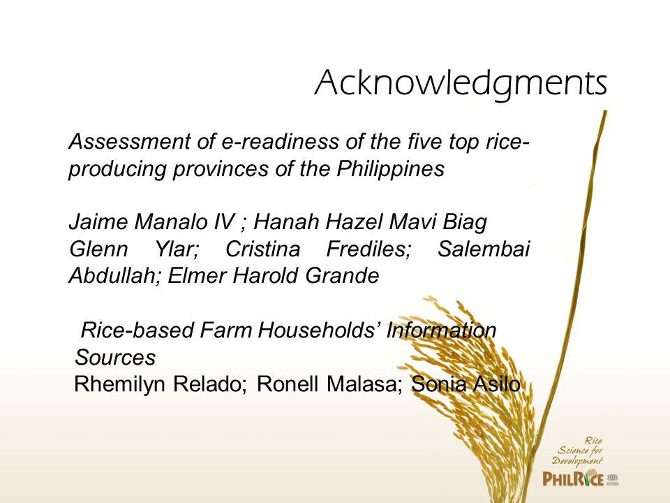 Assessment of e-readiness of the five top rice- producing provinces of the Philippines Jaime Manalo IV ; Hanah Hazel Mavi Biag Glenn Ylar; Cristina Fr