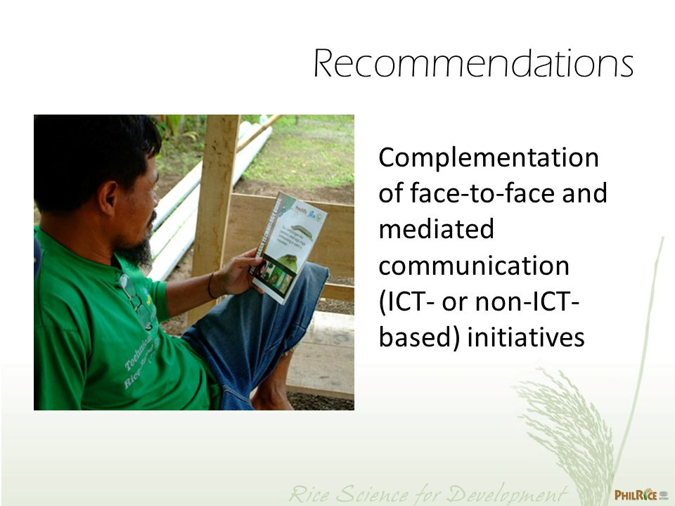Complementation of face-to-face and mediated communication (ICT- or non-ICT- based) initiatives Recommendations