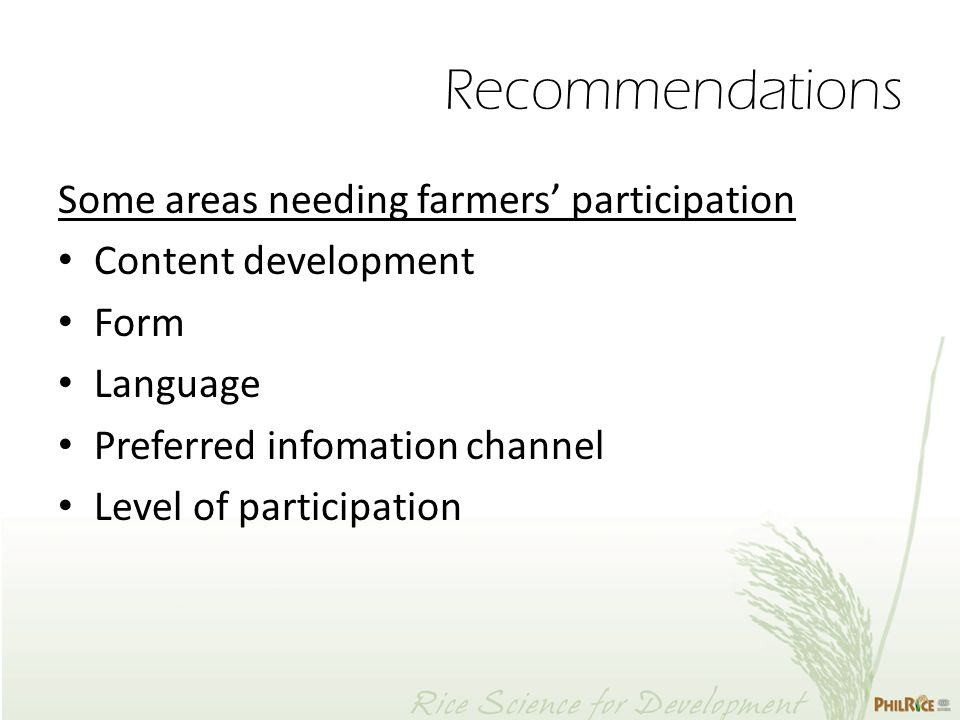 Some areas needing farmers' participation Content development Form Language Preferred infomation channel Level of participation Recommendations