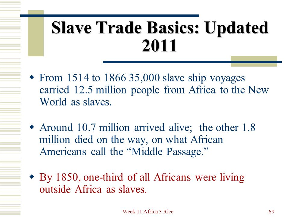 Slave Trade Basics: Updated 2011 We now have detailed facts about what actually happened during the slave trade.