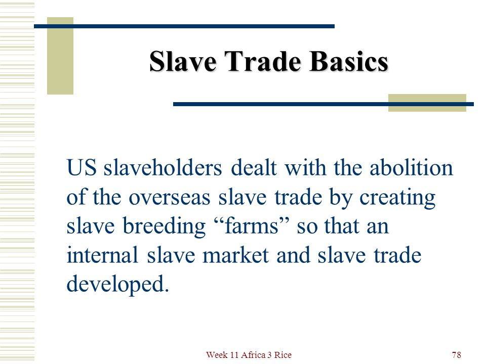 Slave Trade Basics The US Congress outlawed the slave trade in 1808, but slavery as an institution had already been enshrined in the US Constitution.