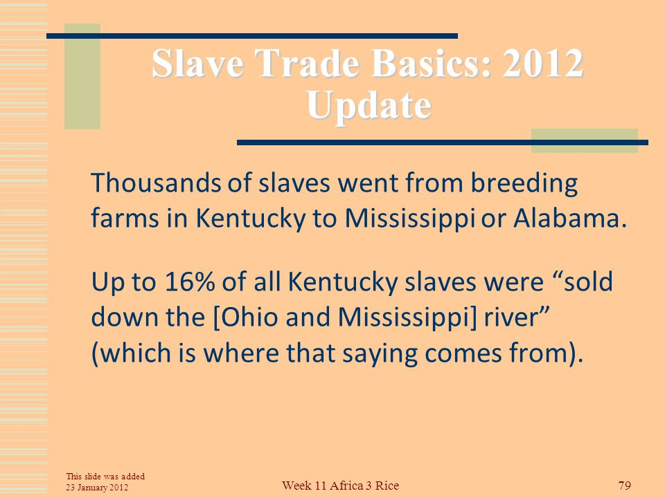 Slave Trade Basics US slaveholders dealt with the abolition of the overseas slave trade by creating slave breeding farms so that an internal slave market and slave trade developed.