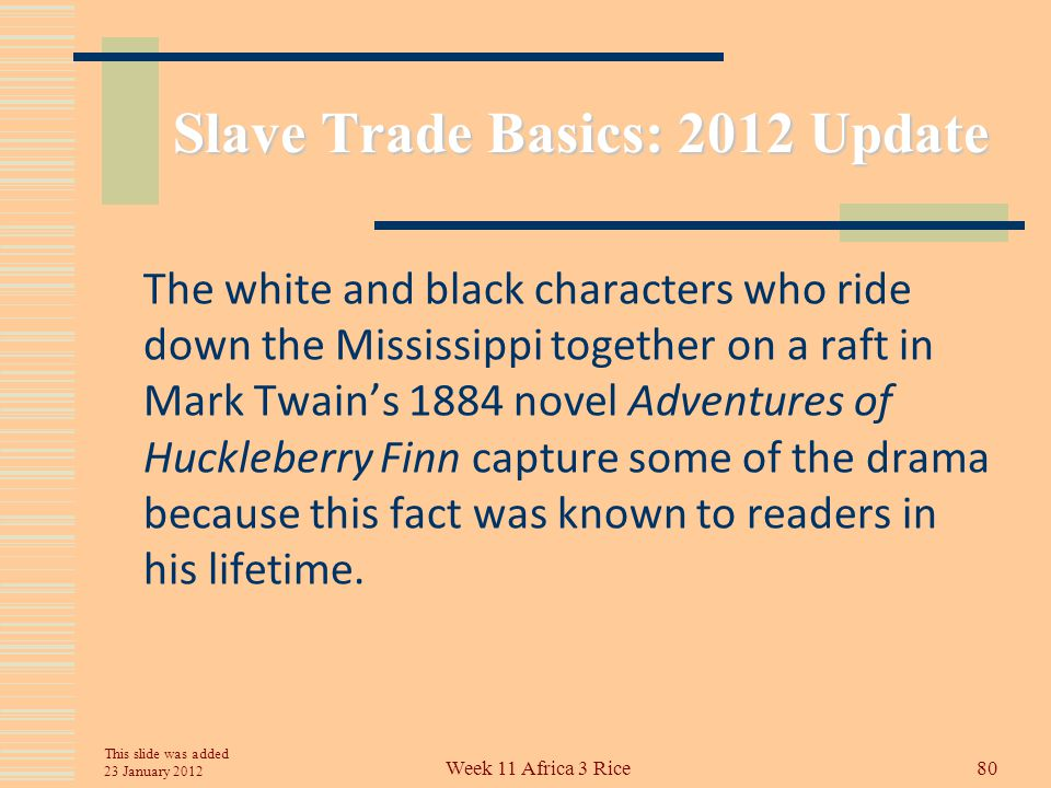 Slave Trade Basics: 2012 Update Thousands of slaves went from breeding farms in Kentucky to Mississippi or Alabama.