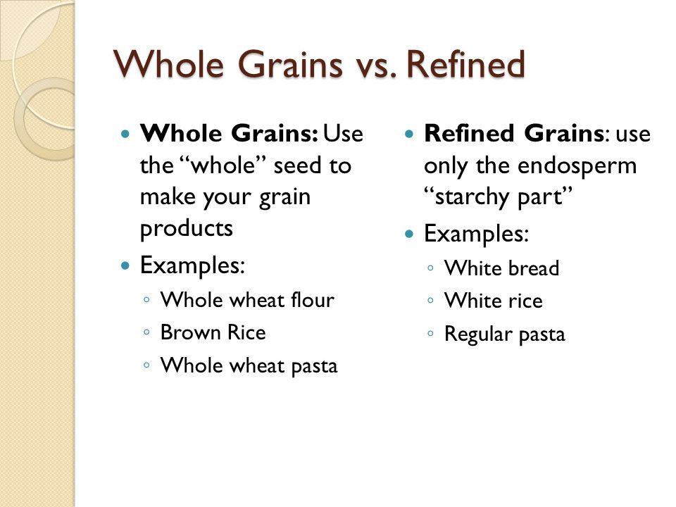 Types of grains Barley Buckwheat Bulgur Corn Couscous Grano Kamut Millet Oats Quinoa (keen-wa) Rice Rye Spelt Wheat Wild Rice