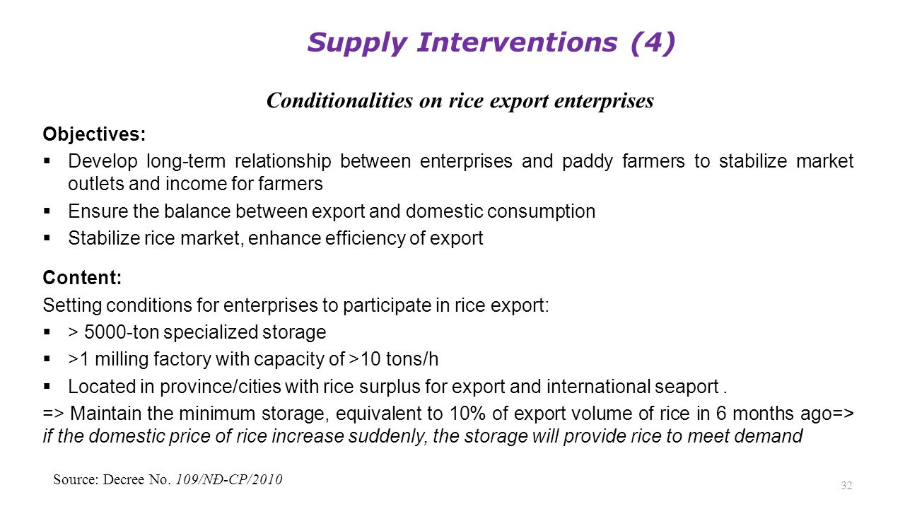 Conditionalities on rice export enterprises 32 Objectives:  Develop long-term relationship between enterprises and paddy farmers to stabilize market