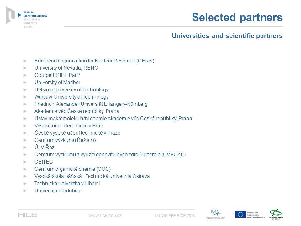 Selected partners European Organization for Nuclear Research (CERN) University of Nevada, RENO Groupe ESIEE Paříž University of Maribor Helsinki Unive