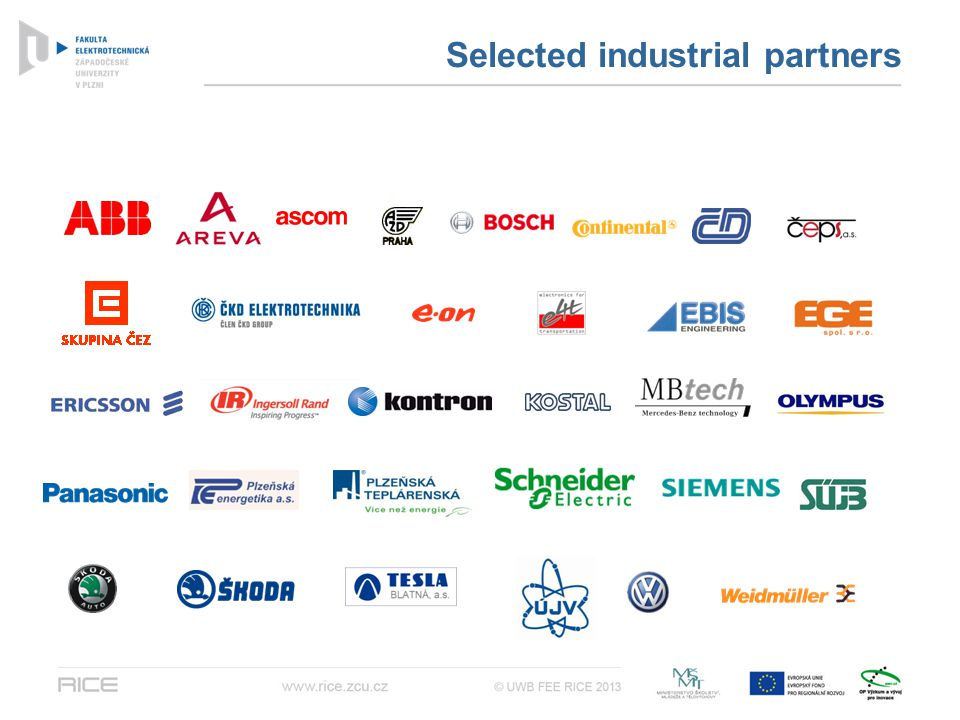 Selected industrial partners